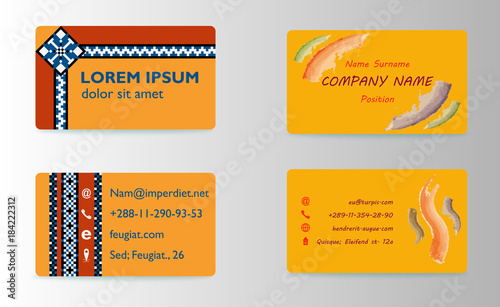 Staande foto Retro sign Set of modern business card print templates. Personal visiting card with company logo. trending design. Vector illustration