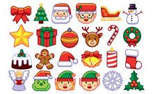 Set Of Christmas Emojis Isolated On White Background