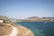 View over a bay with a typical village on Paros, one of the Cyclade islands in Greece