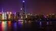 night illuminated shanghai traffic river bay downtown rooftop panorama 4k timelapse china