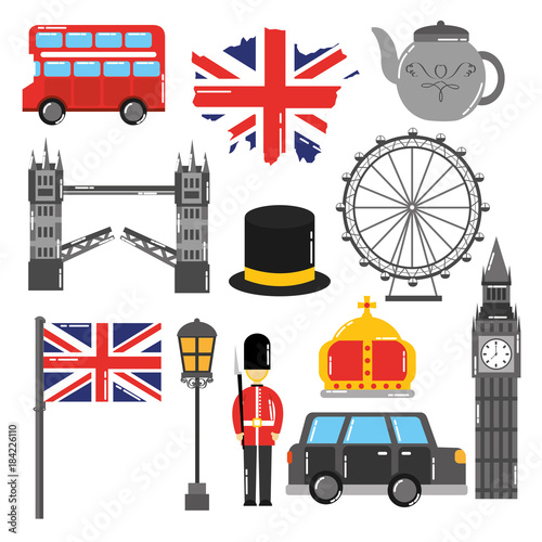 Fototapeta london england toruism travel landmark symbol vector illustration obraz