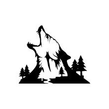 Chinese Wolf. Wolf Head Logo.