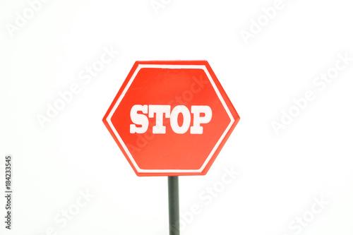 ストップ 止まれの標識 中止、禁止、反対、やめるなどのイメージ 白背景 Tablou Canvas