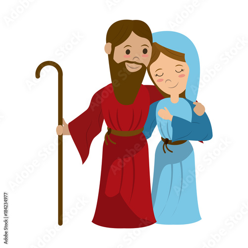 Cuadros en Lienzo Virgin mary and joseph cartoon icon vector illustration graphic design