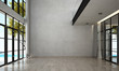 Leinwanddruck Bild - The interior design of modern empty lounge and living room and concrete wall background and sea view
