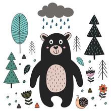 Bear In Forest Scandinavian St...