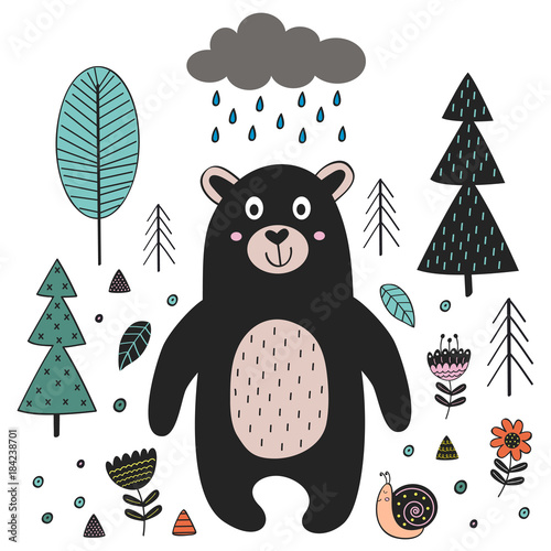 Bear in forest Scandinavian style. Poster, childish print, card - vector illustration, eps
