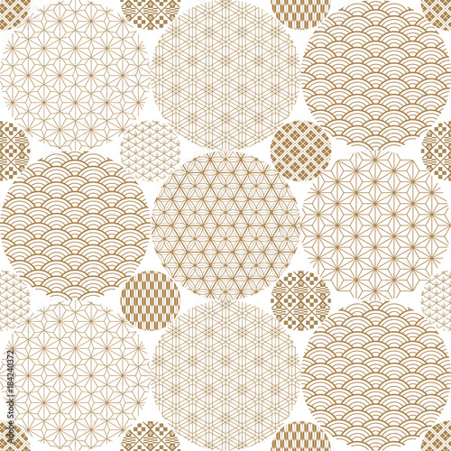 Photo sur Toile Empreintes Graphiques Japanese pattern background vector. Gold geometric cover design , poster, card, template.