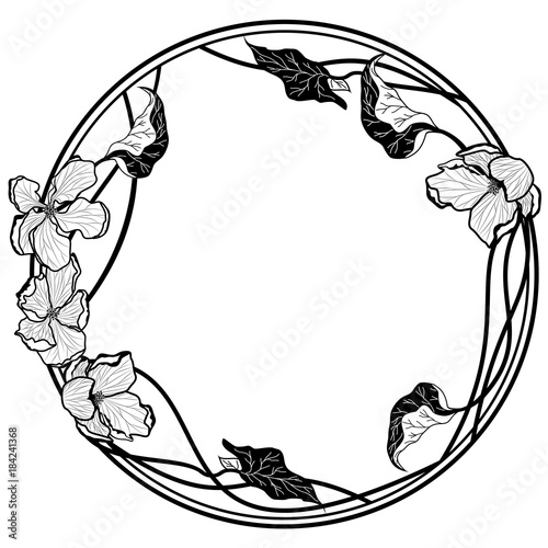 vector round frame with apple flowers Wall mural