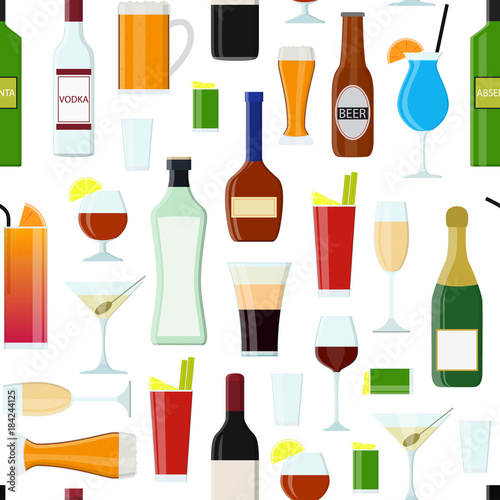 Cuadros en Lienzo Cartoon Alcoholic Beverages Drink Seamless Pattern Background