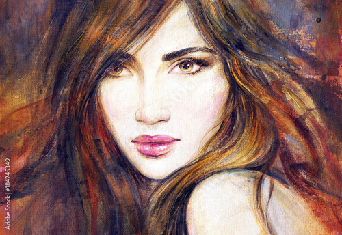 Garden Poster Watercolor Face Beautiful woman with long hair. Fashion illustration.