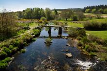 Medieval Clapper Bridge, Devon, England