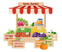 Front View Market Wood Stand With Farm Food And Vegetables In Open Box Vector With Weights And Price Tags Illustration Isolated On White Background