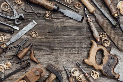 Obraz Old carpentry tools on the workbench - fototapety do salonu