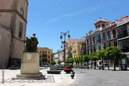 Streets and buildings of Badajoz, a city in Extremadura, western Spain