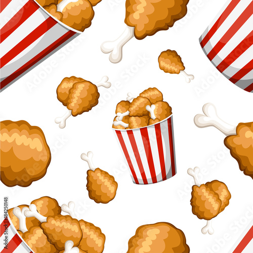 Seamless pattern fried chicken in strip bucket and fried
