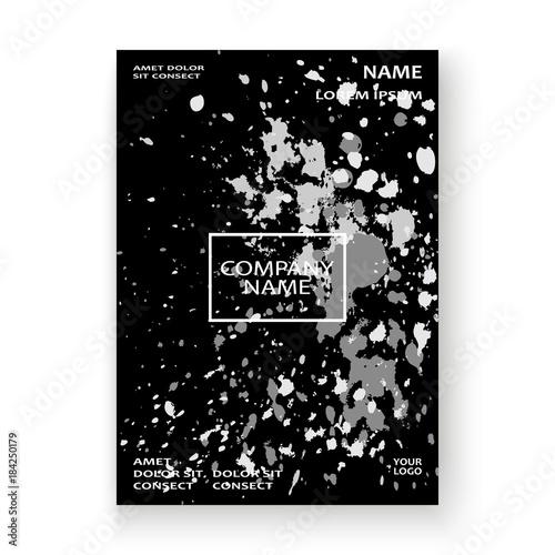 Fototapeta Monochrome explosion paint splatter artistic cover frame design. Black white splash spray texture background. Trendy creative template vector Cover Report Catalog Brochure Flyer Poster Banner obraz na płótnie