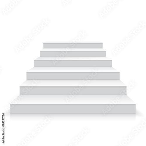Fotografia White stairs realistic illustration, vector