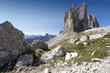 Italien, Dolomiten, Hochpustertal, Naturpark Drei Zinnen (Parco Naturale Tre Cime), die Drei Zinnen von Nordwesten aus gesehen.