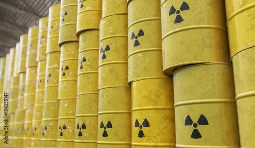 Photo Dumping of radioactive waste barrels. 3D rendered illustration.