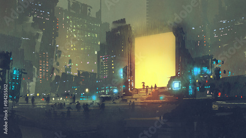 night scenery of futuristic city with many people in teleport station, digital a Canvas Print