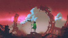 A Girl With Flag Standing On Ruins Of City Looking At Clouds In The Red Sky, Digital Art Style, Illustration Painting
