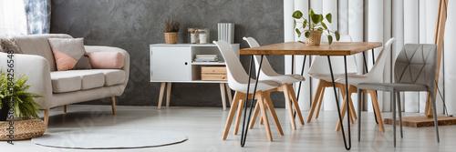 Fototapeta White and wooden furniture obraz