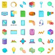It business icons set, cartoon style