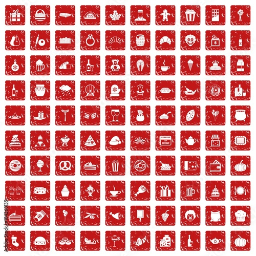 100 bounty icons set grunge red Wallpaper Mural