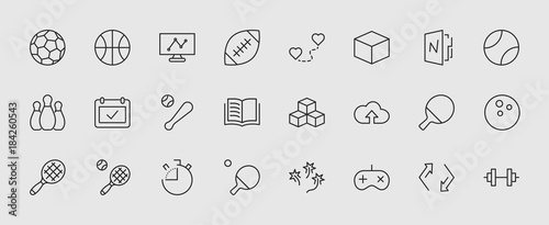 Set of sports balls, hobbies, entertainment vector line icons Tableau sur Toile