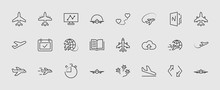Set Of Plane Vector Line Icon....