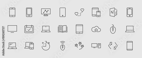 Obraz Set of smart devices and gadgets, computer equipment and electronics. Electronic devices icons for web and mobile vector line icon. Editable move. 32x32 pixels. - fototapety do salonu