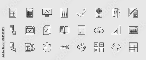 Fotografía  Set of Calculation Vector Line Icons