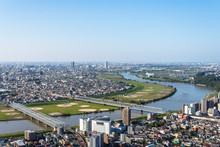 千葉県から見る江戸川と東京の都市風景2