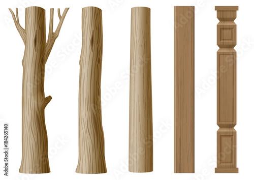 Set of pillars of wood Wallpaper Mural