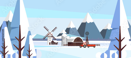 Winter Landscape in Flat Style Illustartion