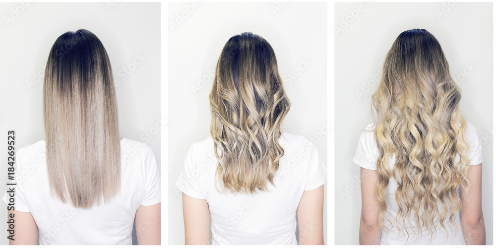 Fototapeta Hair extension before and after on woman head