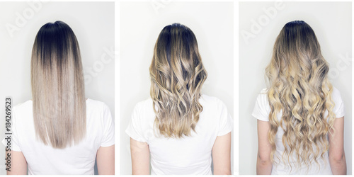 Hair extension before and after on woman head