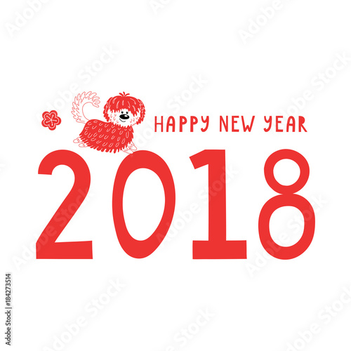 Hand drawn New Year greeting card with cute funny cartoon dog ...