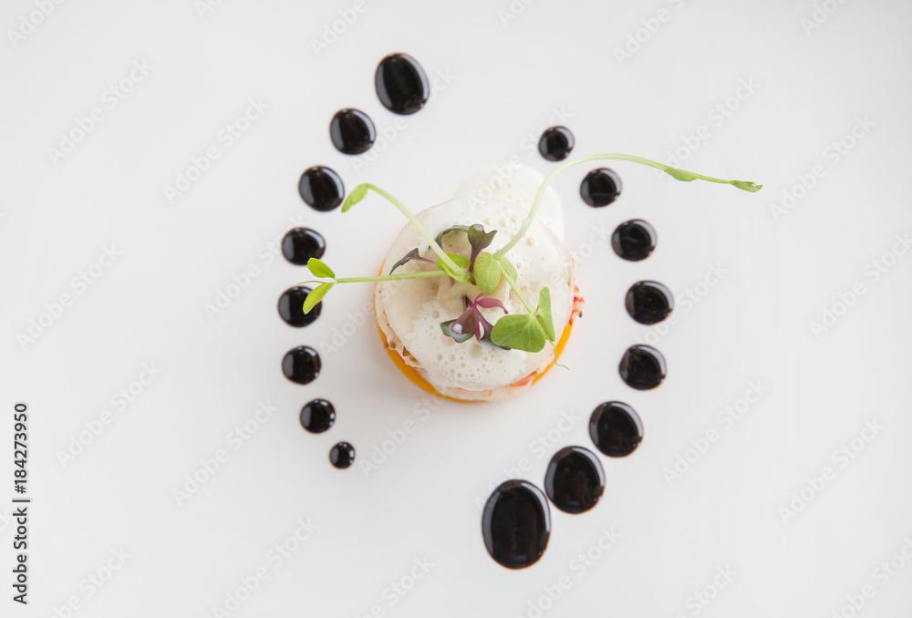 Fototapety, obrazy: Haute high end cuisine gourmet appetizer shrimp, pear, pumpkin with butter foam
