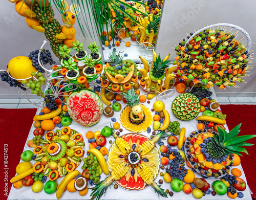 Colorful Fruit Mix On The Table Decorated Fruit Table