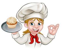 Cartoon Woman Pastry Chef Bake...