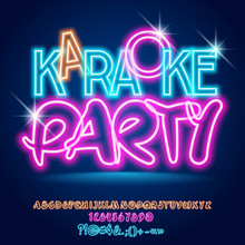 Vector Bright Light Up Neon Poster Karaoke Party. Shiny Alphabet Letters, Numbers And Symbols