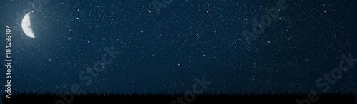 Obraz background night sky with stars and moon - fototapety do salonu