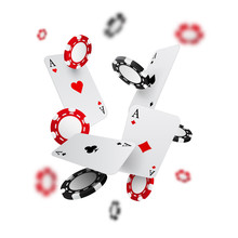 Falling Casino Chips And Aces ...
