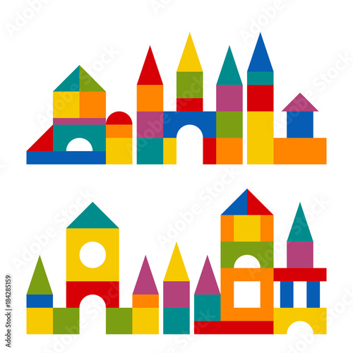 Bright colorful wooden blocks toy Wallpaper Mural