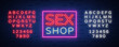 Sex shop logo, night sign in neon style. Neon sign, a symbol for sex shop promotion. Adult Store. Bright banner, nightly advertising. Vector Illustration. Editing text neon sign. Neon alphabet