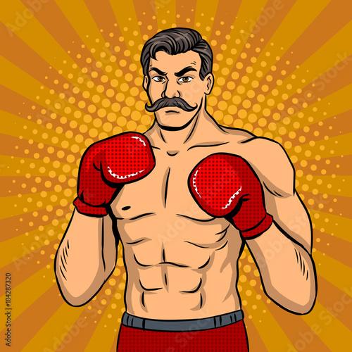 Vintage bokser wojownik z wąsem pop-art wektor