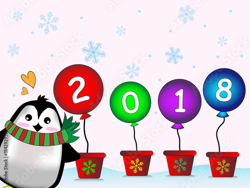 cute hand drawing cartoon penguin and 2018 new year balloon on white sky and blue snowflake