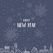 Happy New Year card with houses in city